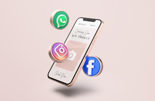 Rose gold mobile phone mockup met 3d-pictogrammen voor sociale media