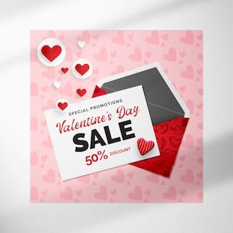 Rose maqueta de banner del día de san valentín con sobre y corazones