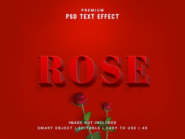 Rose premium psd text effect, maqueta realista en 3d, estilo de capa, reemplazo de objeto inteligente.