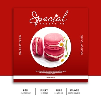 Rosso di instagram dell'alberino della media di valentine banner social media dell'alimento