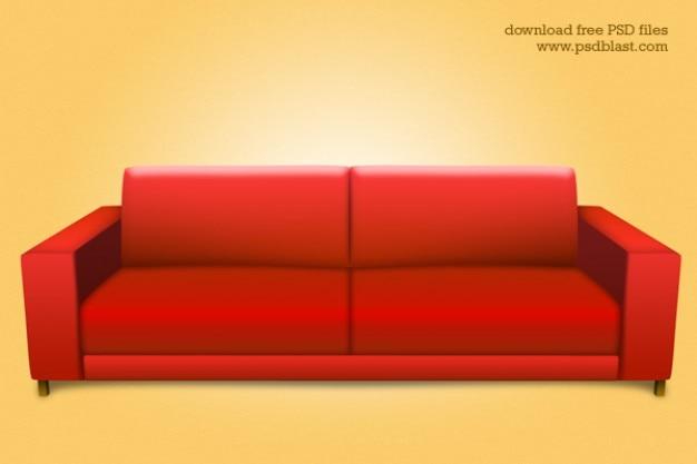 Rosso divano psd interno icona