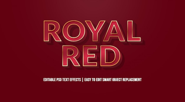 Royal red text effect premium psd