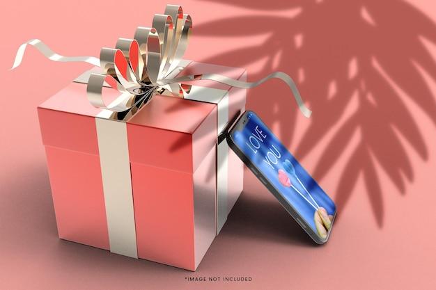 Roze 3d geschenkdoos met smartphone mockup
