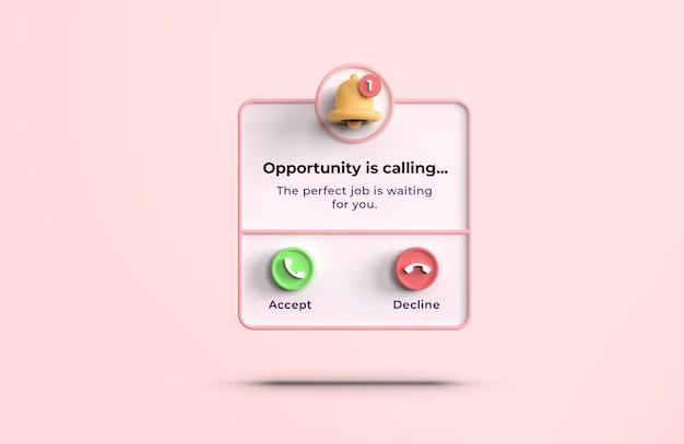 Roze 3d-oproepinterfacemodel