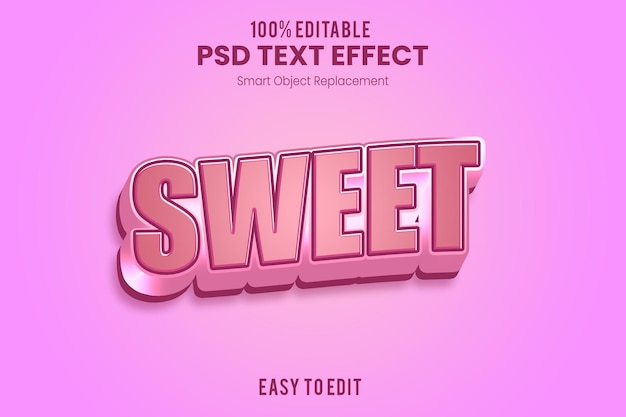 Roze 3d-teksteffect sjabloon