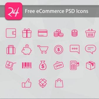 Roze ecommerce iconen psd