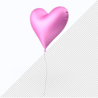 Roze geïsoleerd de ballonhart van de valentijnskaartfolie