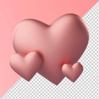 Roze hart liefde vorm geïsoleerd transparante 3d-rendering