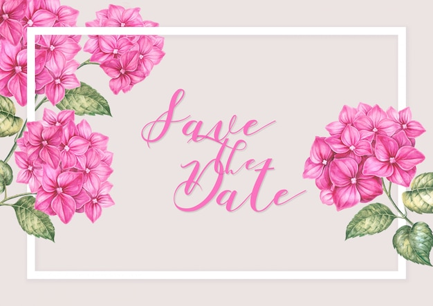 Roze hortensia bloemen