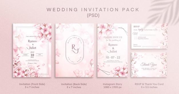Roze huwelijksuitnodigingspakket met rsvp-bedankt en instagram-verhaal