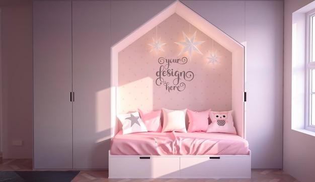 Roze kinderen slaapkamer interieur muur mockup 3d-rendering