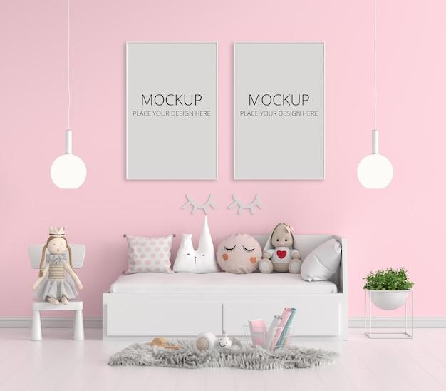 Roze kinderslaapkamer met frame mockup
