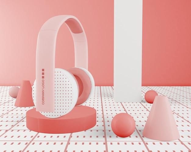 Roze minimalistische draadloze hoofdtelefoon