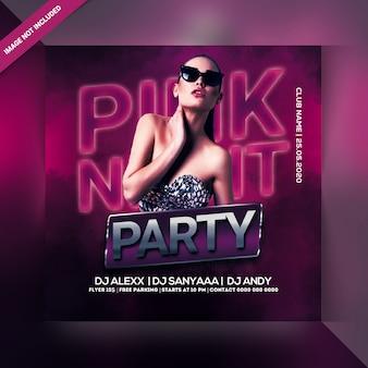 Roze nacht feest flyer