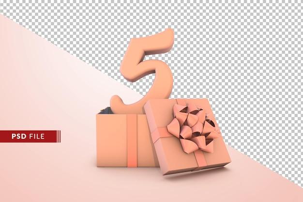 Roze nummer 5 voor gelukkige verjaardag met roze geschenkdoos 3d geïsoleerd