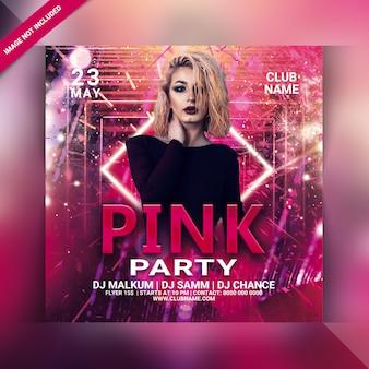 Roze partij flyer