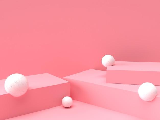 Roze pastel product staan op de achtergrond. abstracte minimale geometrie concept. 3d-rendering Premium Psd