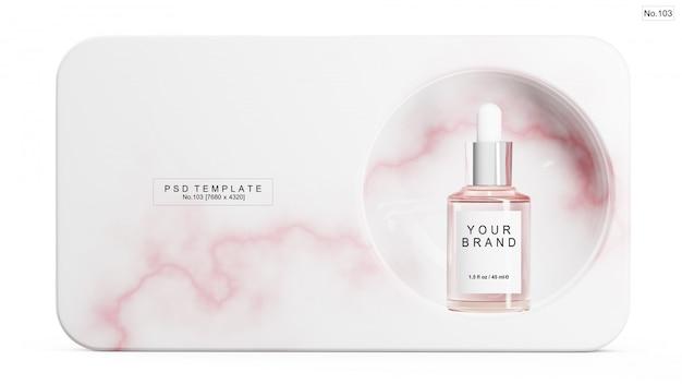 Roze serum met roze marmeren steen. 3d render