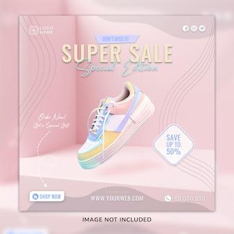 Roze sportsneaker sosial media post & webbannersjabloon met 3d-achtergrond