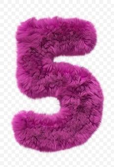 Roze vacht alfabet harige nummer 5 geïsoleerd