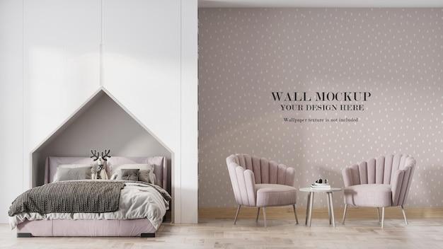 Roze witte slaapkamer muur mockup ontwerp
