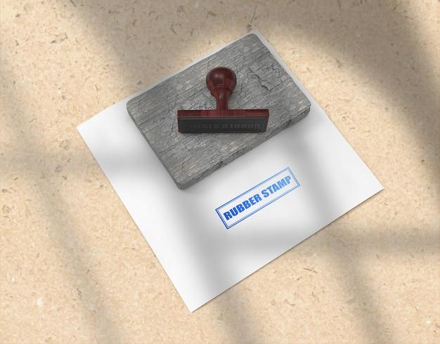 Rubber stempel of stempelkussen briefpapier logo mockup ontwerp