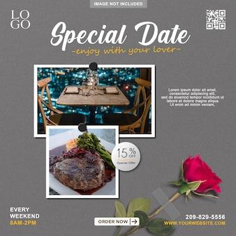 Ruimtelijke datum menu promotie social media banner postsjabloon