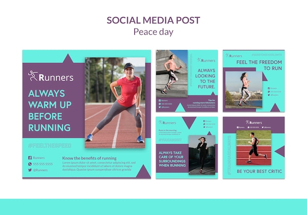 Running training social media postsjabloon