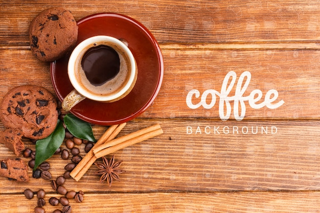 Rustieke achtergrond met koffiekop en koekjes