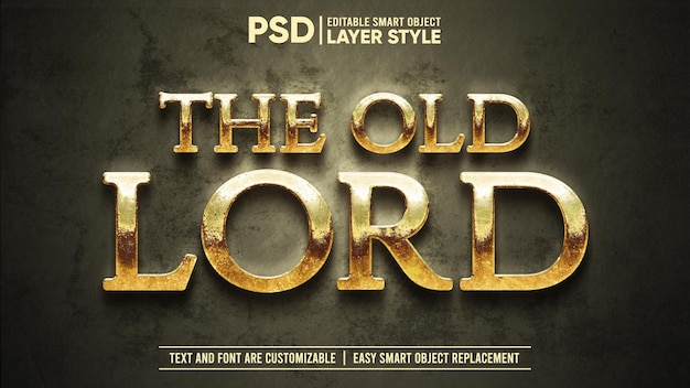 Rusty gold medieval old lord dramático editable objeto inteligente estilo de capa efecto de texto