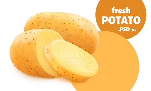 Ruwe aardappel die op witte muur wordt geïsoleerd