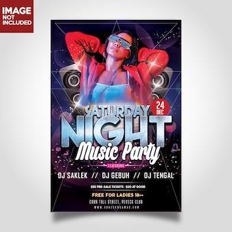 Sábado dj música noche poster fiesta