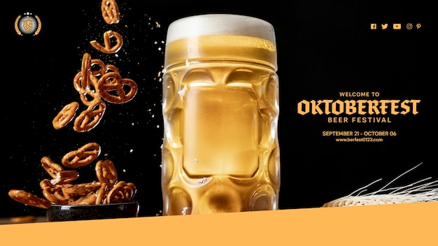 Sabrosa jarra de cerveza con pretzels que caen