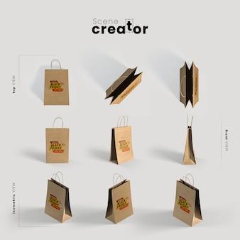 Sacchetti di carta con varie angolazioni per le illustrazioni dei creatori di scene
