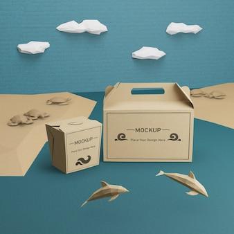 Sacchetti di carta kraft per la giornata sull'oceano con mock-up