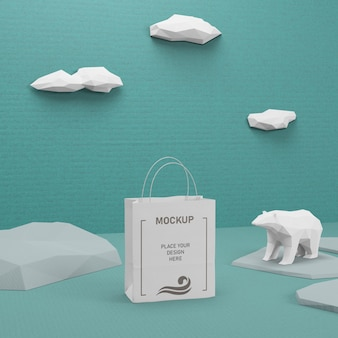 Sacchetto di carta sostenibile con mock-up