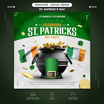 Saint patrick's day flyer-sjabloon voor instagram feed