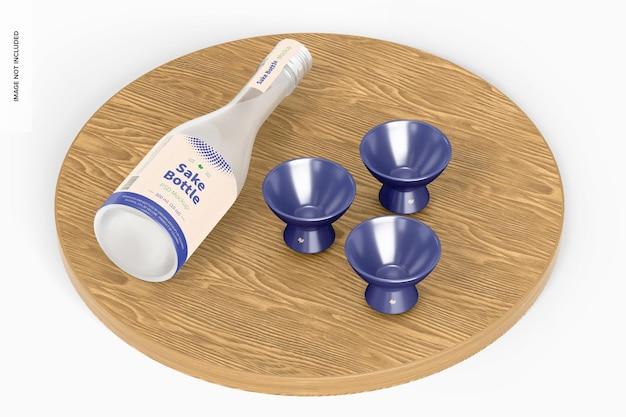 Sake bottle mockup, perspectief