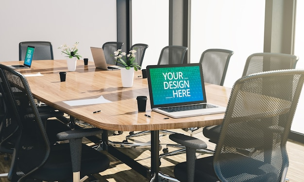 Sala conferenze o riunioni con mockup di computer in rendering 3d