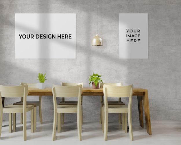 Sala da pranzo con mockup cornice appesa al muro