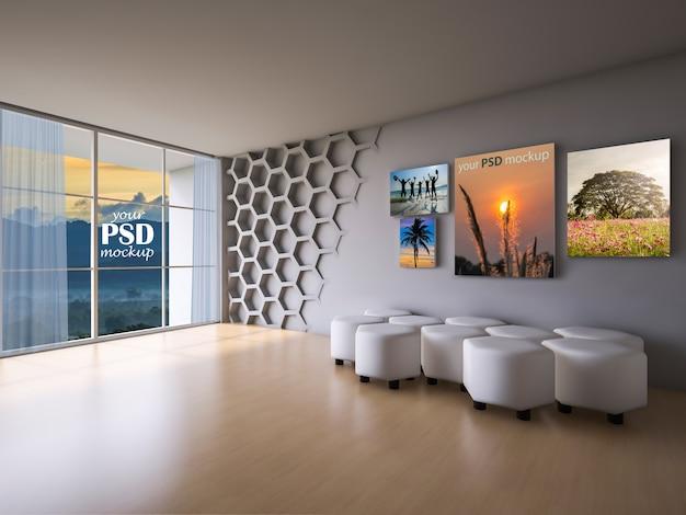 Sala de estar de diseño de interiores con maqueta de marco y maqueta de vista