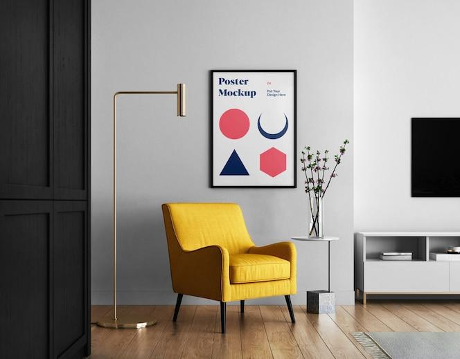 Sala de estar con maqueta de póster