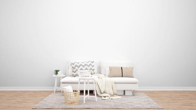 Sala de estar mínima con sofá blanco y alfombra, ideas de diseño de interiores.
