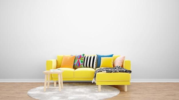 Sala de estar minimalista con sofá y alfombra amarillos, ideas de diseño de interiores.