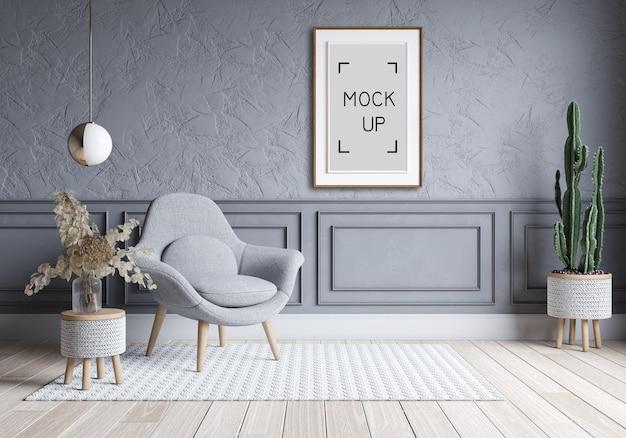 Sala de estar moderna y diseño de interiores loft. sofá gris en maqueta de pared y marco de hormigón. render 3d