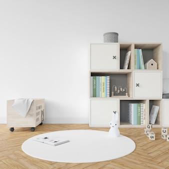 Sala giochi con libri e giocattoli