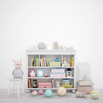 Sala giochi per bambini con mobili con scaffali e molti giocattoli
