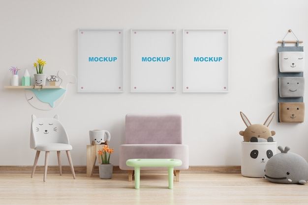 Sala de guardería de maqueta interior con maqueta de marco de pared representación 3d