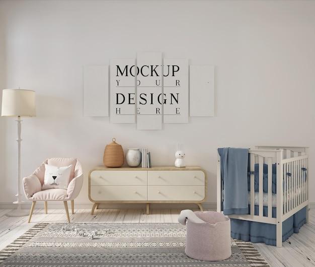 Sala de guardería con póster de diseño de maqueta