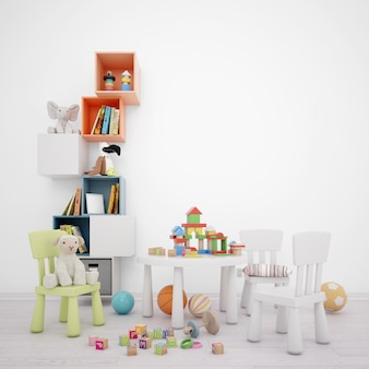 Sala de juegos para niños con cajones de almacenamiento, mesa y muchos juguetes.